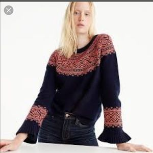 J. Crew Sweaters - Jcrew fair Isle ruffle sleeve sweater Small